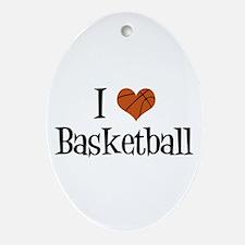 I Heart Basketball Ornament (Oval)