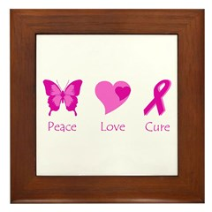 Peace Love Cure Framed Tile