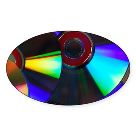 Colorful Disks Sticker (Oval)