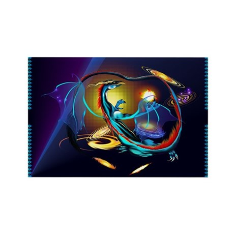 Blue Galaxy Dragon Rectangle Magnet (10 pack)