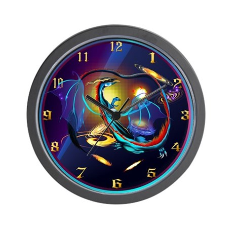 Blue Galaxy Dragon Wall Clock