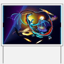Blue Galaxy Dragon Yard Sign