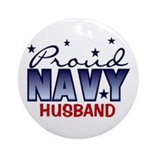 Proud Navy Husband Ornament (Round)