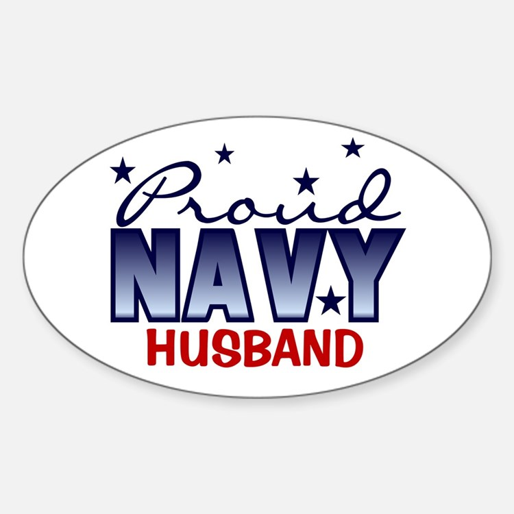 Proud Navy Husband Oval Decal
