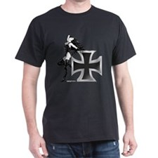 Hot Babe on Cross Black T-Shirt