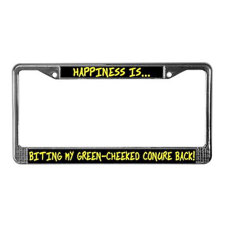 HI Biting Green Cheek Conure License Plate Frame