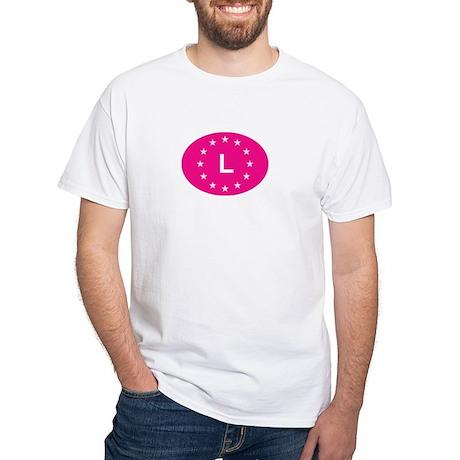 EU Pink Luxembourg White T-Shirt
