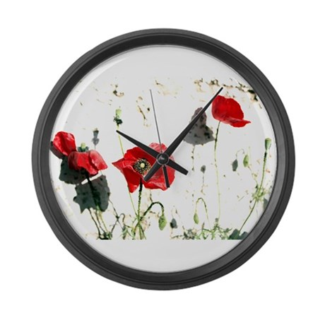 Large Poppies Wall Clock