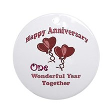 Cute First wedding anniversary Ornament (Round)