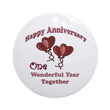 Cute 1st wedding anniversary Ornament (Round)