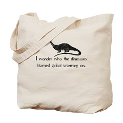 Dinosaur Global Warming Tote Bag