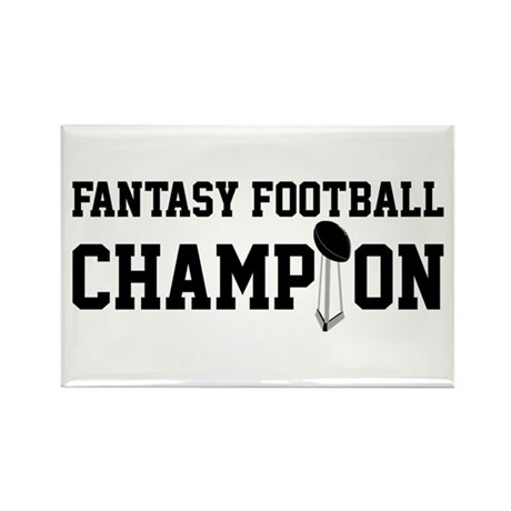 Fantasy Football Champion w/ Trophy Rectangle Magn