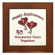 Cute 40th wedding anniversary Framed Tile