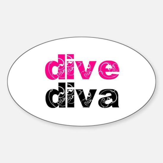 dive diva Sticker (Oval 10 pk)