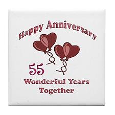 Cute 55th wedding anniversary Tile Coaster