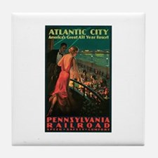Vintage 1935 Atlantic City NJ Tile Coaster