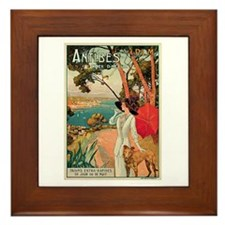 Vintage 1910 Antibes Italy Travel Framed Tile