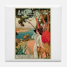 Vintage 1910 Antibes Italy Travel Tile Coaster