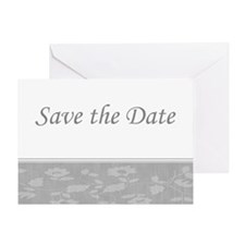 Save the Date floral silver Greeting Card
