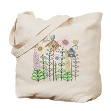 Folk Art Cottage Garden Tote Bag
