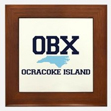 Ocracoke Island - Map Design Framed Tile