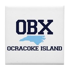 Ocracoke Island - Map Design Tile Coaster