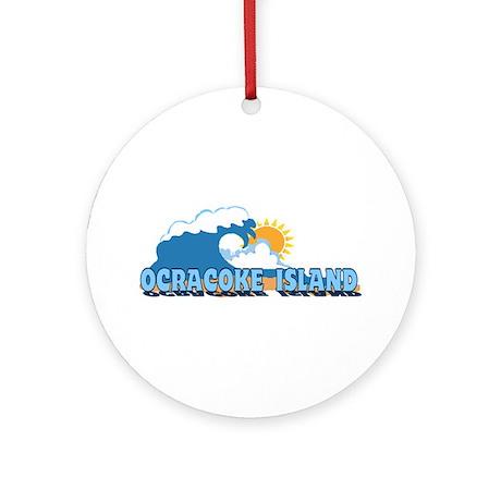 Ocracoke Island - Waves Design Ornament (Round)
