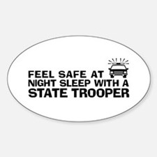 Funny State Trooper Sticker (Oval)