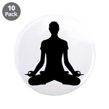 "modern Yoga pose black 3.5"" Button (10 pack)"