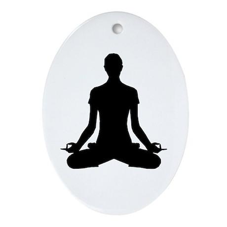modern Yoga pose black Ornament (Oval)