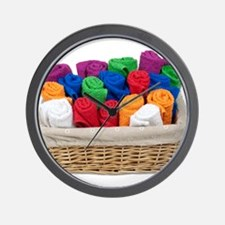 Rolled Towels Basket Wall Clock