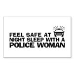 Funny Police Woman Sticker (Rectangle)
