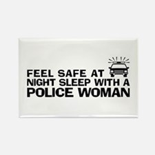 Funny Police Woman Rectangle Magnet
