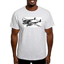 P-38 Lightning B&W Ash Grey T-Shirt