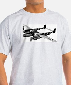 P-38 Lightning B&W Ash Grey T-Shirt