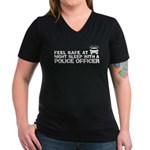 Funny Police Officer Women's V-Neck Dark T-Shirt