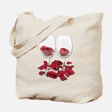 Wine Glass Rose Pedals Tote Bag