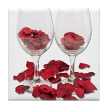 Wine Glass Rose Pedals Tile Coaster