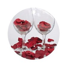 Wine Glass Rose Pedals Ornament (Round)