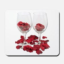 Wine Glass Rose Pedals Mousepad