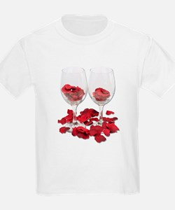 Wine Glass Rose Pedals T-Shirt