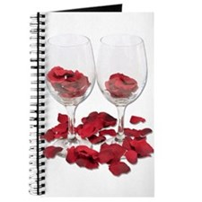 Wine Glass Rose Pedals Journal