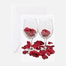 Wine Glass Rose Pedals Greeting Card