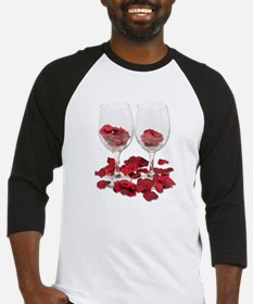 Wine Glass Rose Pedals Baseball Jersey