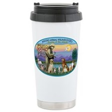 St Francis / dogs-cats Travel Mug