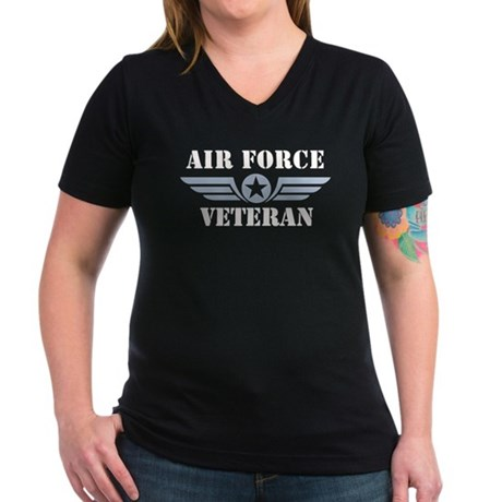 Air Force Veteran Women's V-Neck Dark T-Shirt