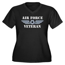 Air Force Veteran Women's Plus Size V-Neck Dark T-
