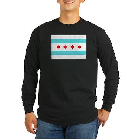 Chicago Flag Long Sleeve Dark T-Shirt