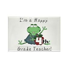 Hoppy 4th Grade Teacher Rectangle Magnet