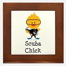 Scuba Chick Framed Tile
